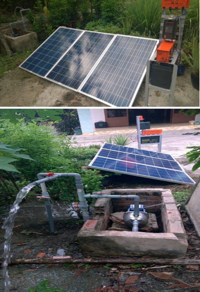 Minh hoạ: Hệ thống bơm trực tiếp từ nắng có ắc quy công suất 0.5hp lắp đặt tại 1 hộ dân Dĩ An – Bình Dương