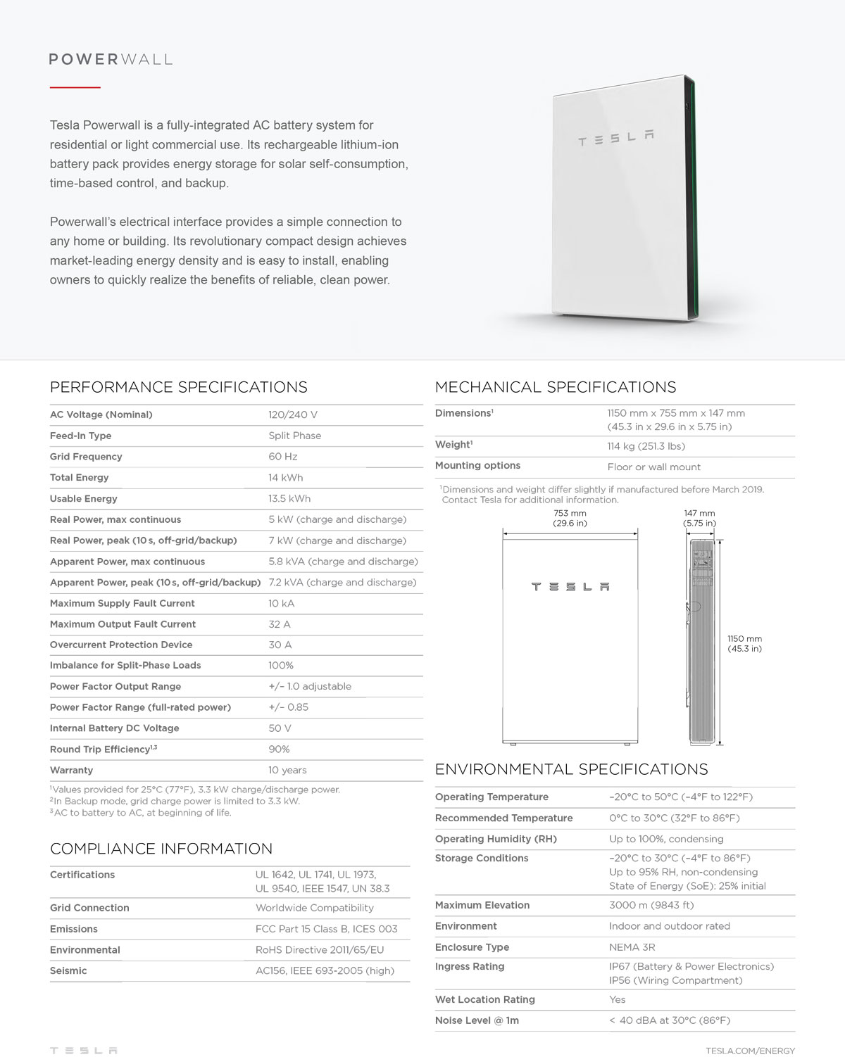 Pin Tesla Powerwall 2 Datasheet - North America